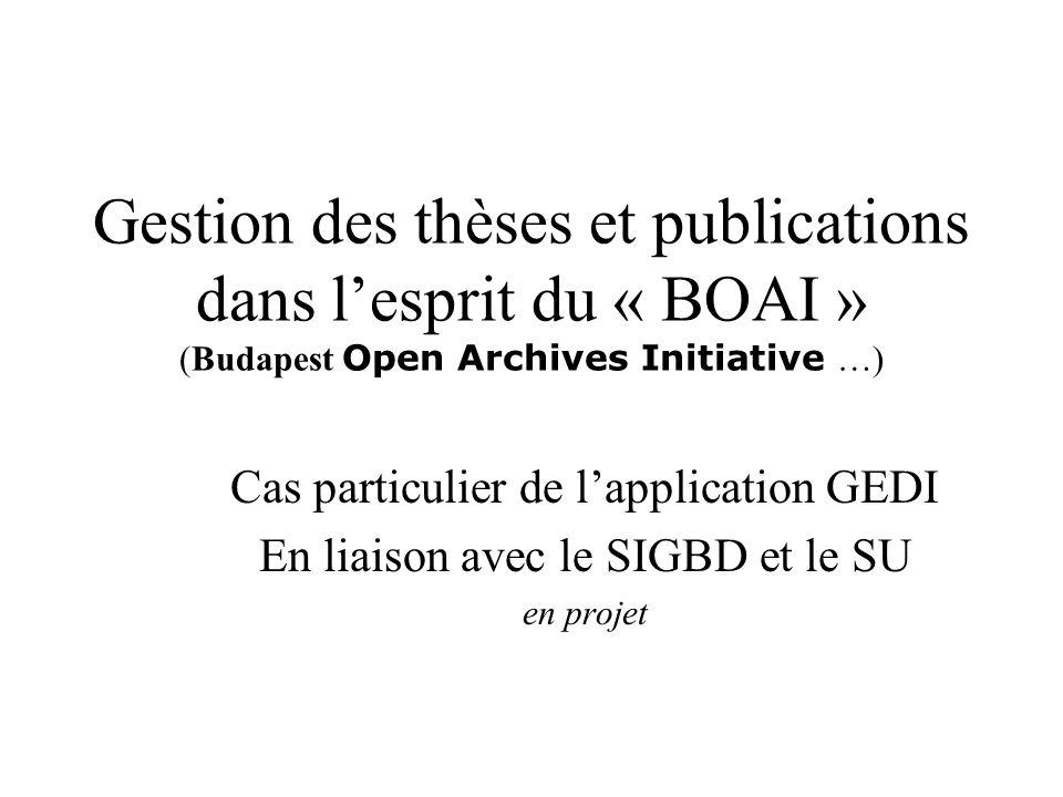 Gestion des thèses et publications dans lesprit du « BOAI » (Budapest Open Archives Initiative …) Cas particulier de lapplication GEDI En liaison avec