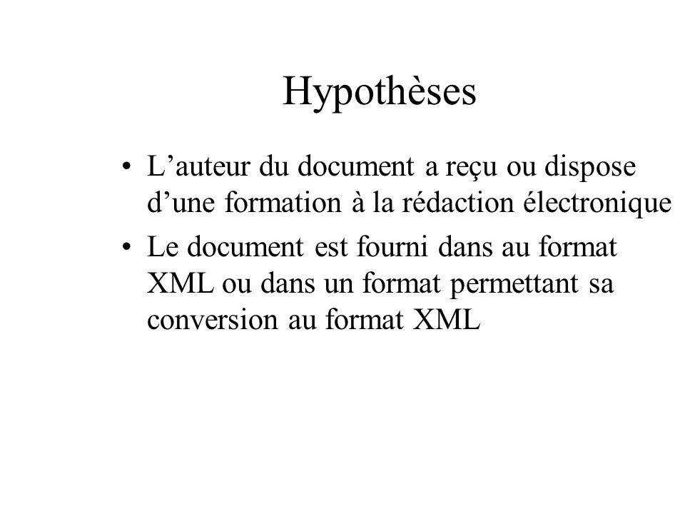 Hypothèses Lauteur du document a reçu ou dispose dune formation à la rédaction électronique Le document est fourni dans au format XML ou dans un forma