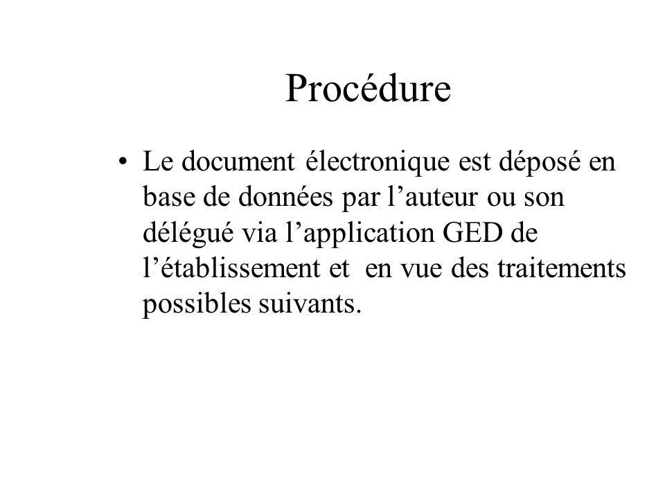 Procédure Le document électronique est déposé en base de données par lauteur ou son délégué via lapplication GED de létablissement et en vue des trait