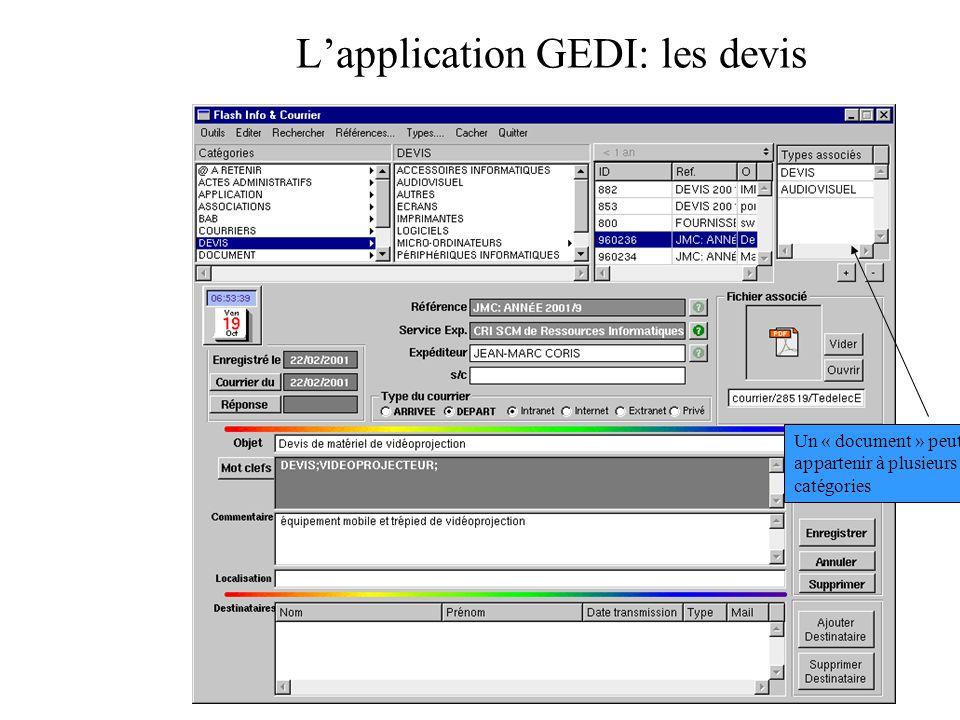 Lapplication GEDI: les devis Un « document » peut appartenir à plusieurs catégories