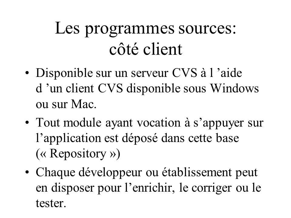 Les programmes sources: côté client Disponible sur un serveur CVS à l aide d un client CVS disponible sous Windows ou sur Mac. Tout module ayant vocat