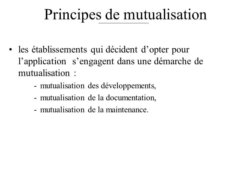 Principes de mutualisation les établissements qui décident dopter pour lapplication sengagent dans une démarche de mutualisation : -mutualisation des développements, -mutualisation de la documentation, -mutualisation de la maintenance.