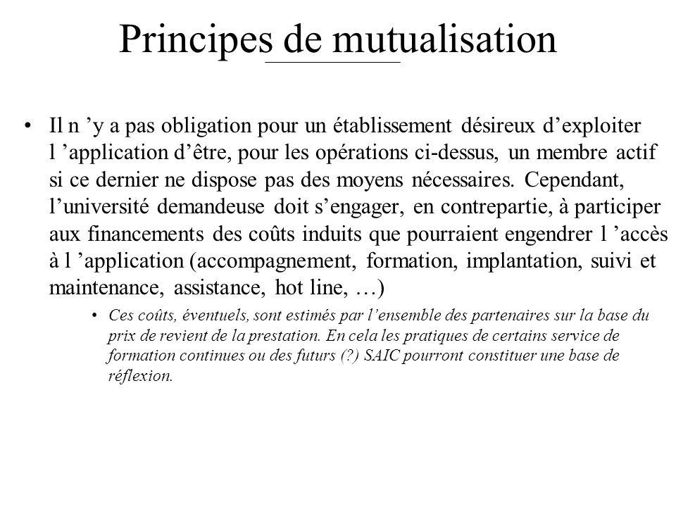 Principes de mutualisation Il n y a pas obligation pour un établissement désireux dexploiter l application dêtre, pour les opérations ci-dessus, un me