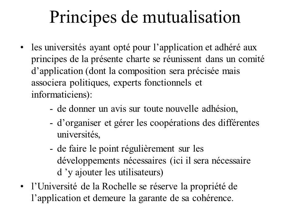 Principes de mutualisation les universités ayant opté pour lapplication et adhéré aux principes de la présente charte se réunissent dans un comité dap
