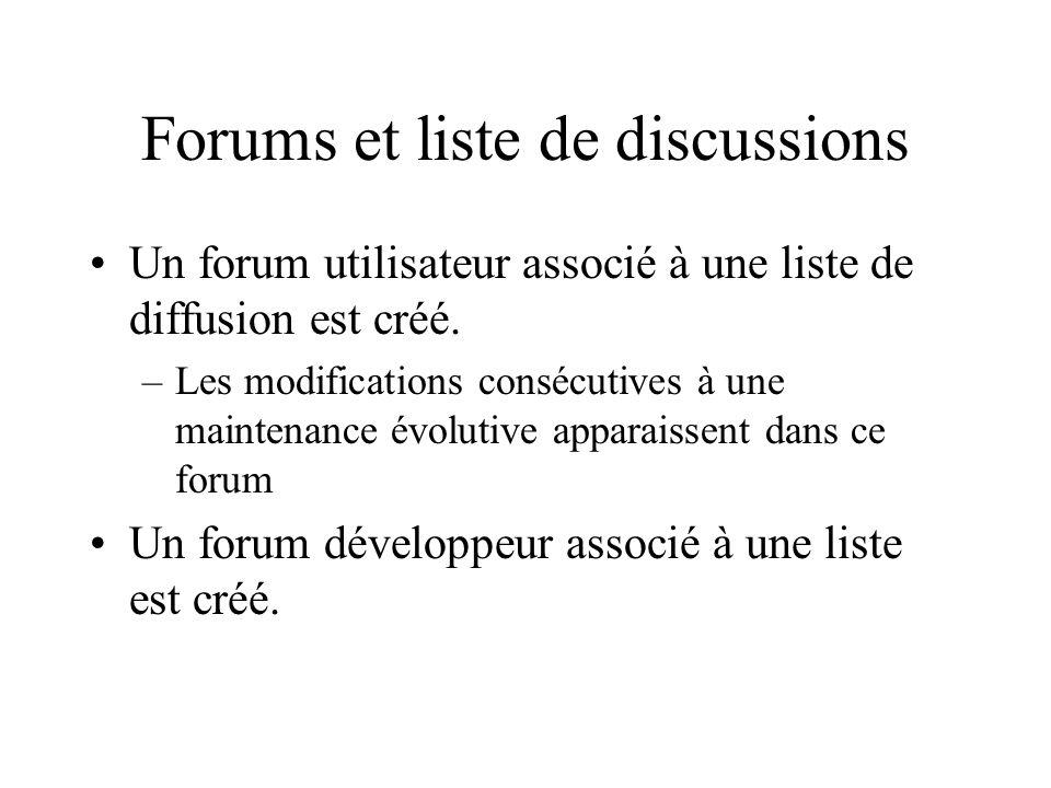 Forums et liste de discussions Un forum utilisateur associé à une liste de diffusion est créé.