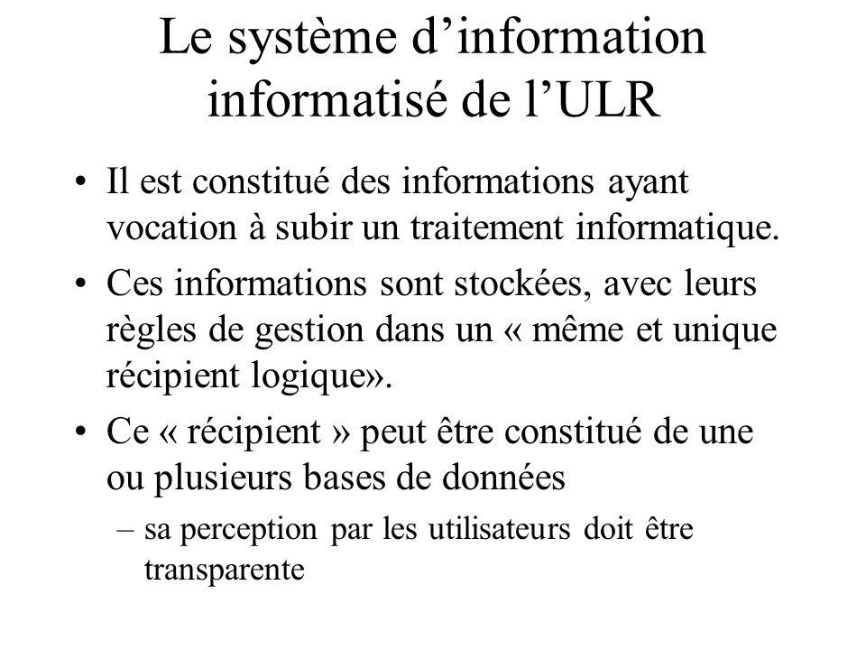 Le système dinformation informatisé de lULR Il est constitué des informations ayant vocation à subir un traitement informatique. Ces informations sont