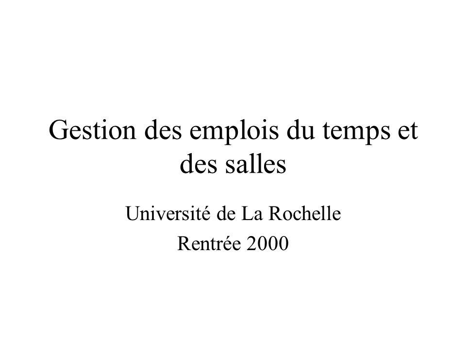 Gestion des emplois du temps et des salles Université de La Rochelle Rentrée 2000