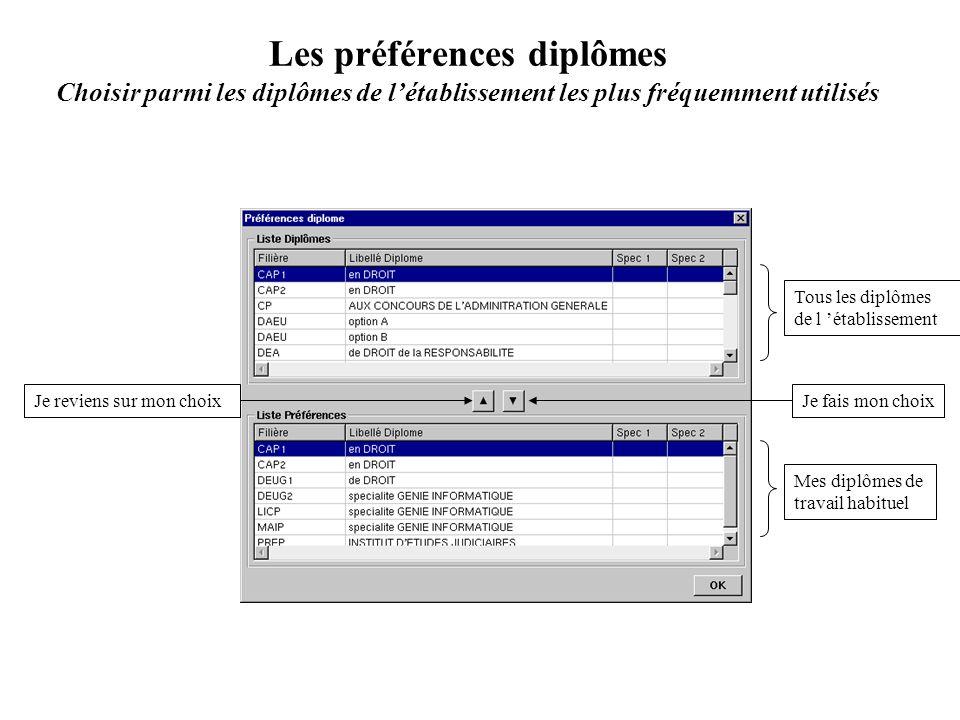 Les préférences diplômes Choisir parmi les diplômes de létablissement les plus fréquemment utilisés Tous les diplômes de l établissement Mes diplômes
