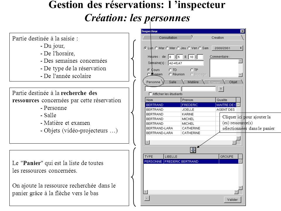 Gestion des réservations: l inspecteur Création: les personnes Partie destinée à la saisie : - Du jour, - De l'horaire, - Des semaines concernées - De