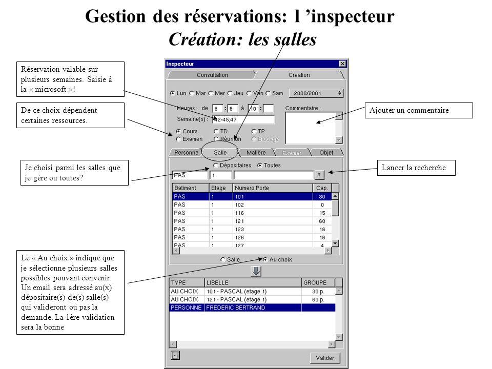 Gestion des réservations: l inspecteur Création: les salles Ajouter un commentaire Réservation valable sur plusieurs semaines. Saisie à la « microsoft