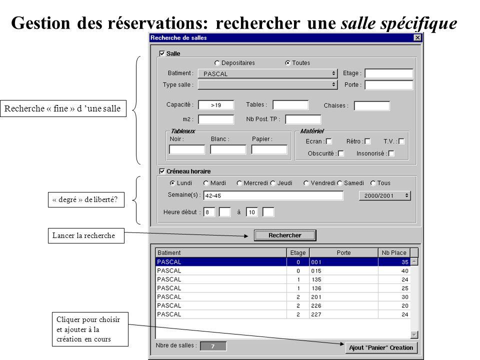 Gestion des réservations: rechercher une salle spécifique Recherche « fine » d une salle « degré » de liberté? Cliquer pour choisir et ajouter à la cr