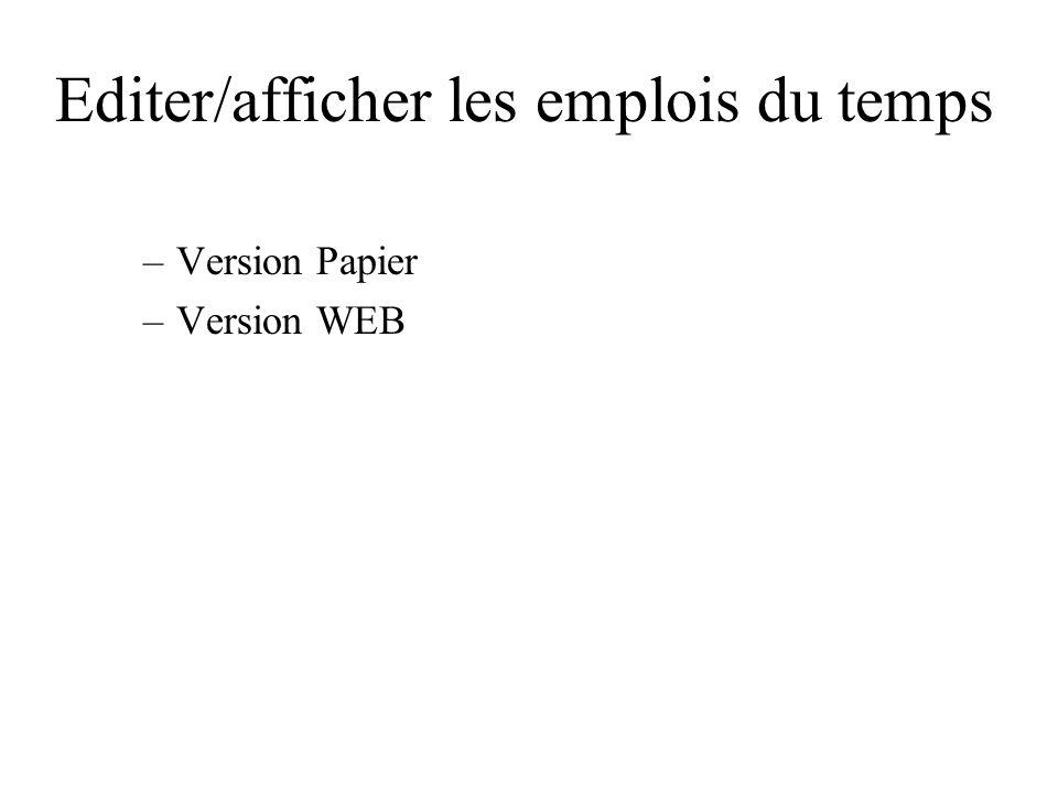 Editer/afficher les emplois du temps –Version Papier –Version WEB