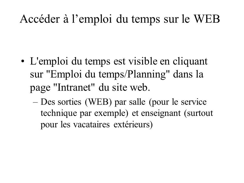 Accéder à lemploi du temps sur le WEB L'emploi du temps est visible en cliquant sur