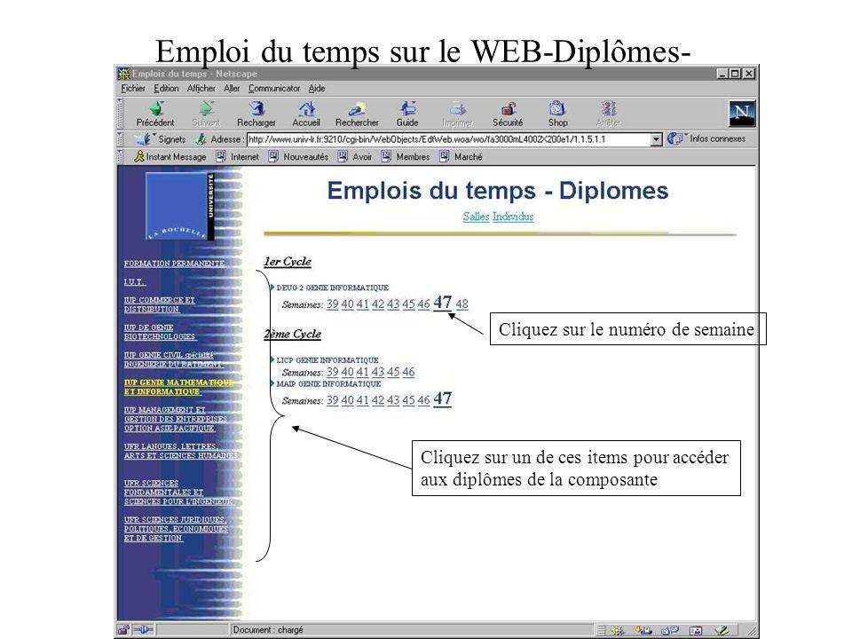 Emploi du temps sur le WEB-Diplômes- Cliquez sur un de ces items pour accéder aux diplômes de la composante Cliquez sur le numéro de semaine