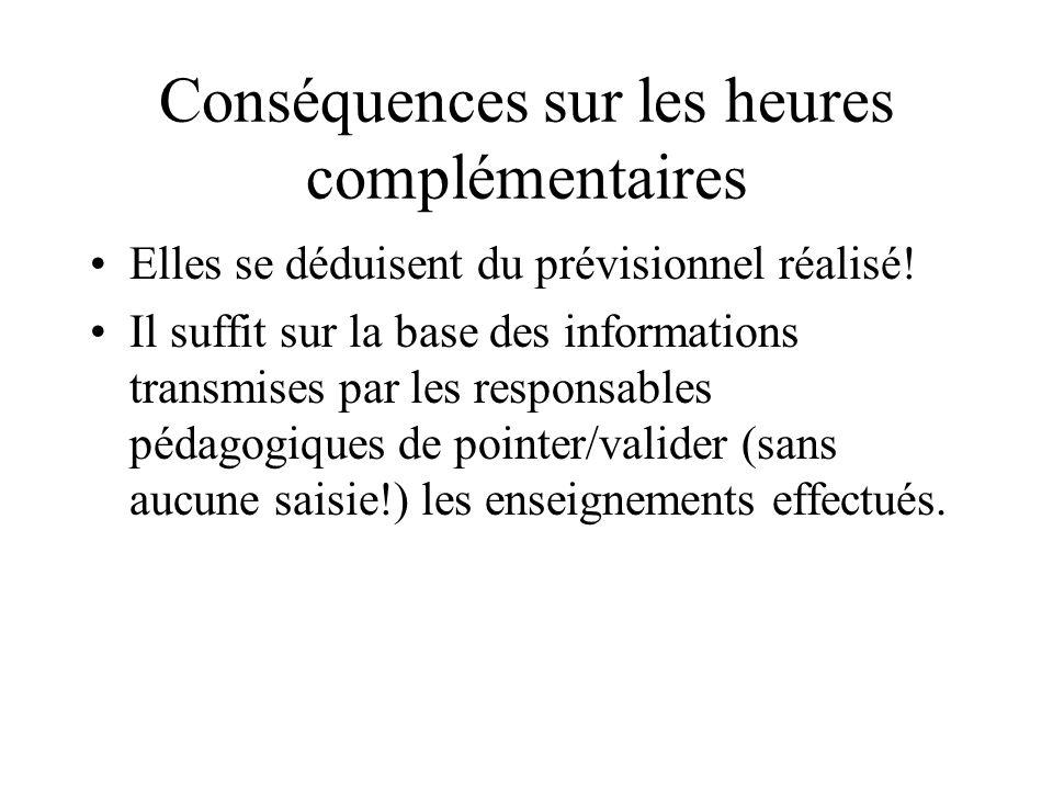Conséquences sur les heures complémentaires Elles se déduisent du prévisionnel réalisé! Il suffit sur la base des informations transmises par les resp