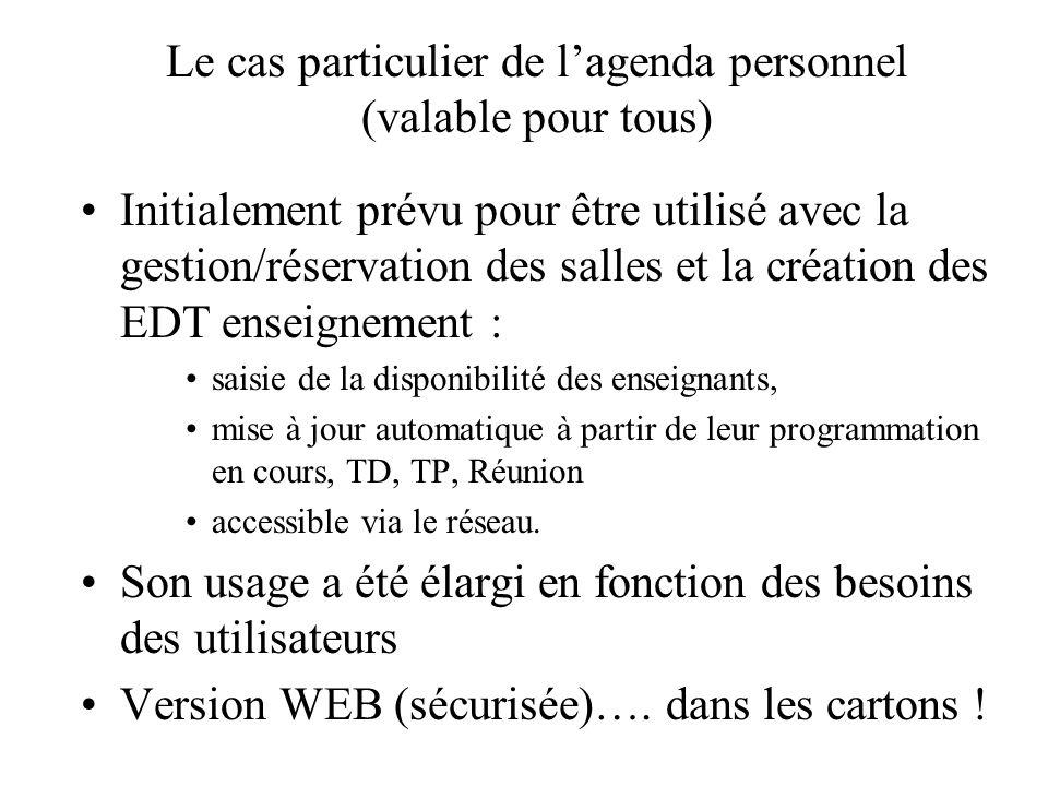 Le cas particulier de lagenda personnel (valable pour tous) Initialement prévu pour être utilisé avec la gestion/réservation des salles et la création