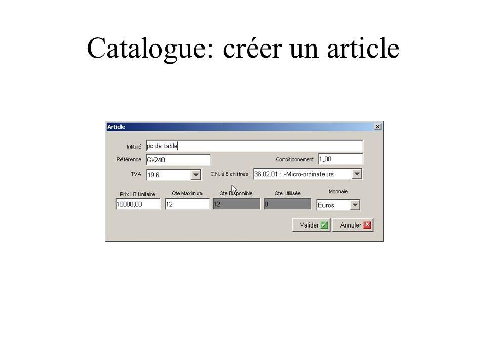 Catalogue: créer un article