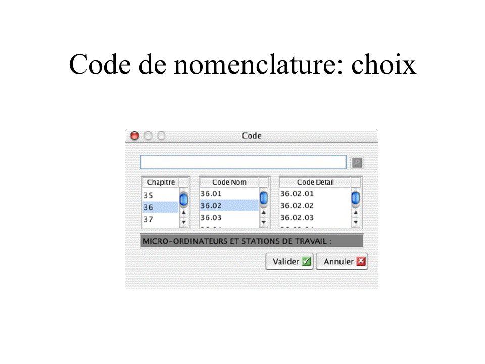 Code de nomenclature: choix