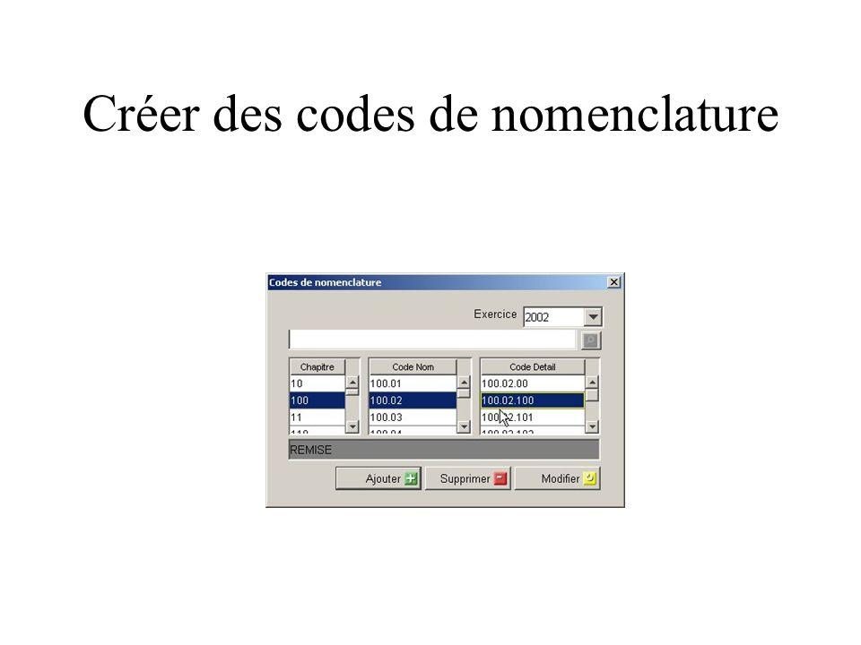 Créer des codes de nomenclature