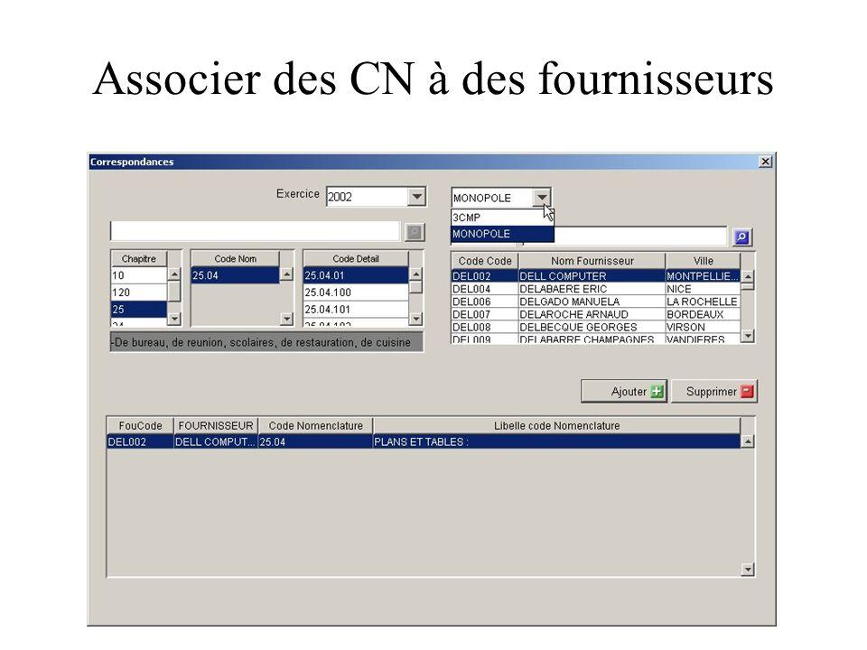 Associer des CN à des fournisseurs