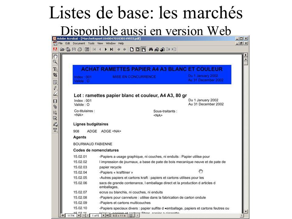 Listes de base: les marchés Disponible aussi en version Web
