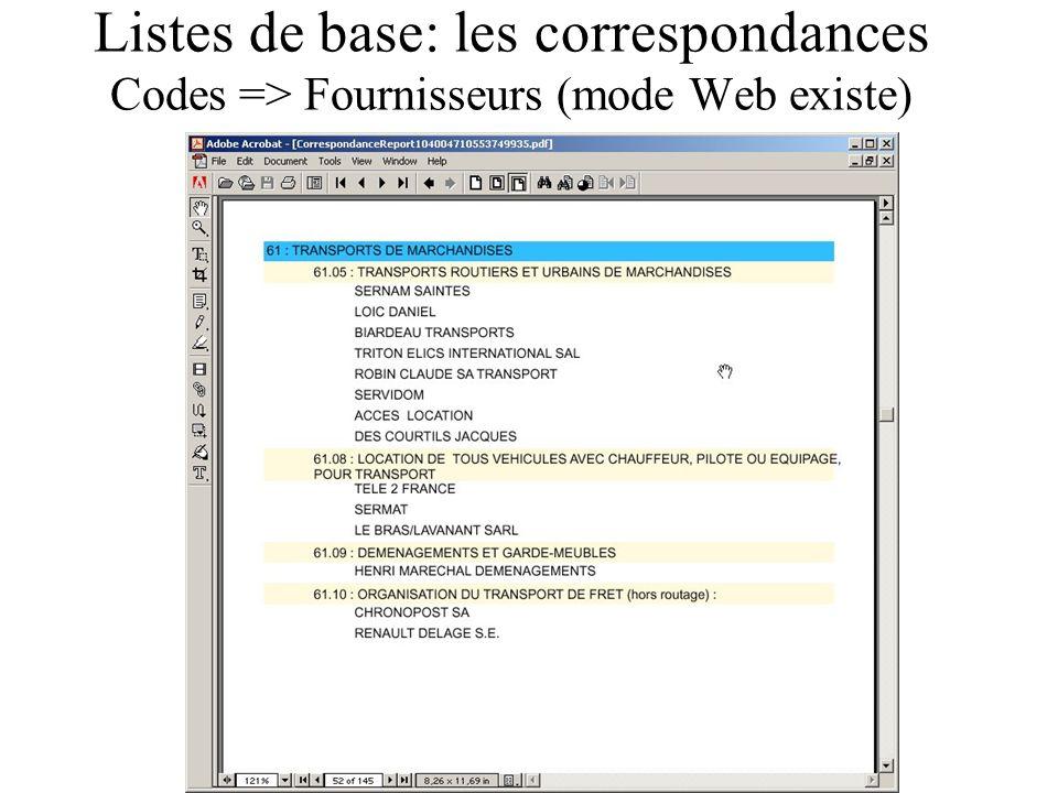 Listes de base: les correspondances Codes => Fournisseurs (mode Web existe)