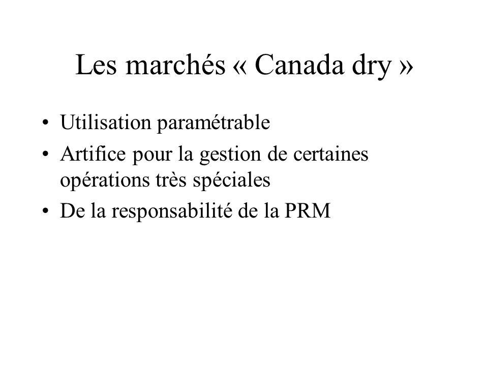 Les marchés « Canada dry » Utilisation paramétrable Artifice pour la gestion de certaines opérations très spéciales De la responsabilité de la PRM