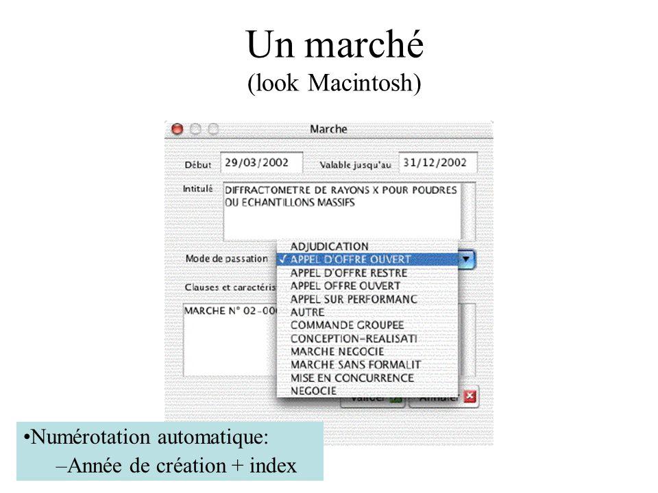 Un marché (look Macintosh) Numérotation automatique: –Année de création + index