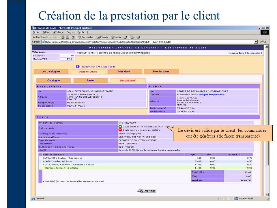 Création de la prestation par le client Le devis est validé par le client, les commandes ont été générées (de façon transparente)