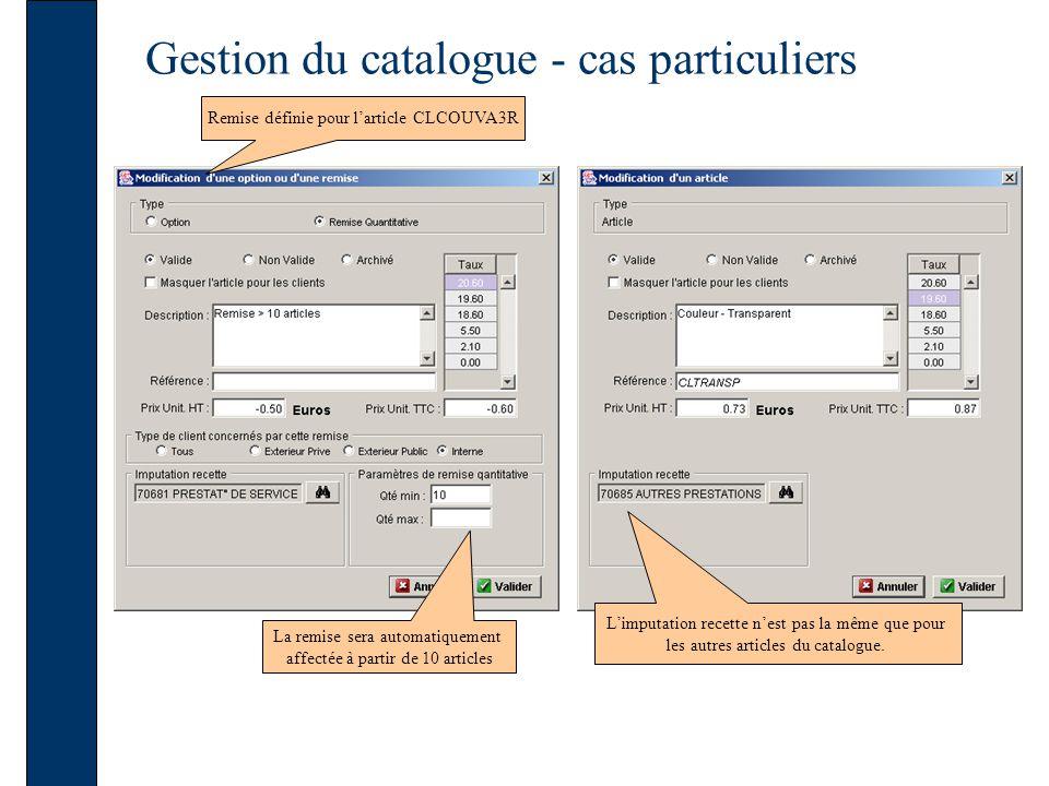 Gestion du catalogue - cas particuliers Remise définie pour larticle CLCOUVA3R La remise sera automatiquement affectée à partir de 10 articles Limputation recette nest pas la même que pour les autres articles du catalogue.