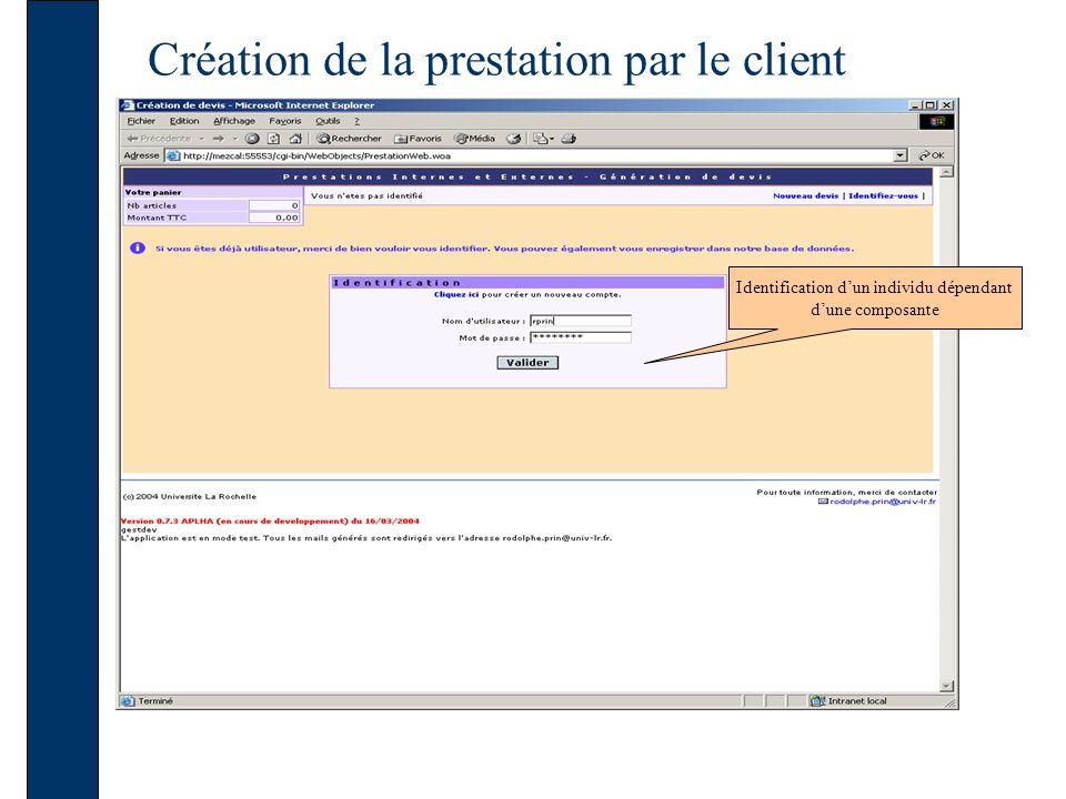 Création de la prestation par le client Si lutilisateur appartient à plusieurs composantes, un choix lui est proposé après identification