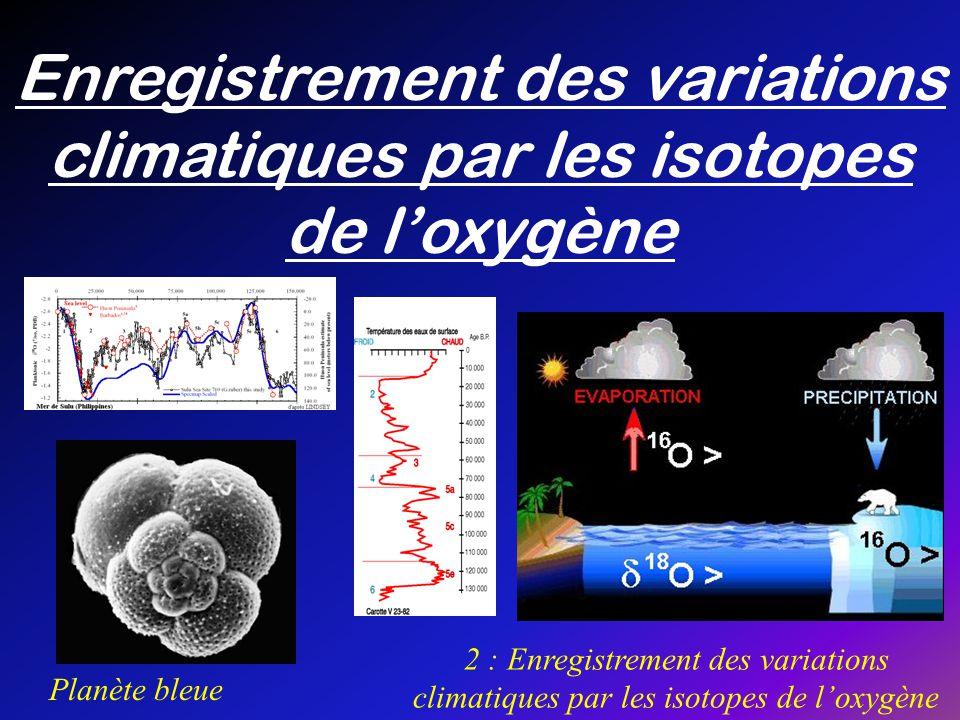 Enregistrement des variations climatiques par les isotopes de loxygène Planète bleue 2 : Enregistrement des variations climatiques par les isotopes de