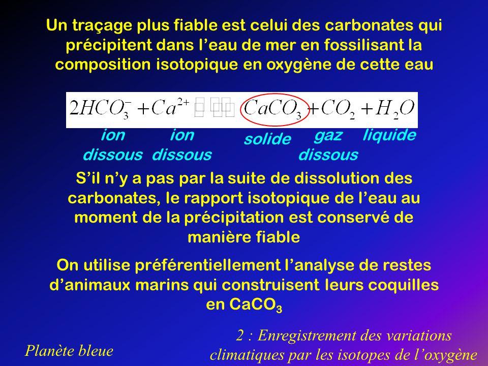 Planète bleue 2 : Enregistrement des variations climatiques par les isotopes de loxygène Un traçage plus fiable est celui des carbonates qui précipite