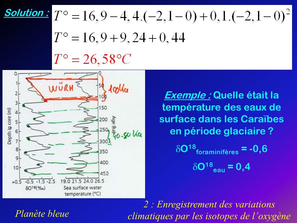 Planète bleue 2 : Enregistrement des variations climatiques par les isotopes de loxygène Exemple : Quelle était la température des eaux de surface dan