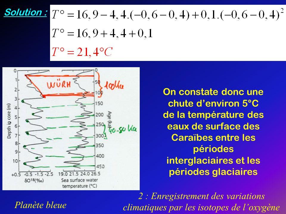 Planète bleue 2 : Enregistrement des variations climatiques par les isotopes de loxygène On constate donc une chute denviron 5°C de la température des