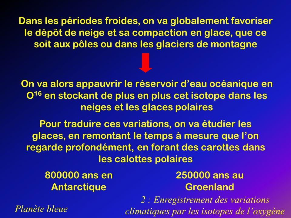 Planète bleue 2 : Enregistrement des variations climatiques par les isotopes de loxygène Dans les périodes froides, on va globalement favoriser le dép