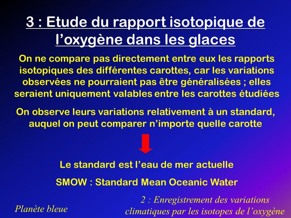 Planète bleue 2 : Enregistrement des variations climatiques par les isotopes de loxygène 3 : Etude du rapport isotopique de loxygène dans les glaces O