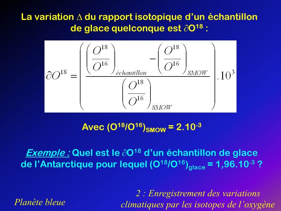 Planète bleue 2 : Enregistrement des variations climatiques par les isotopes de loxygène La variation du rapport isotopique dun échantillon de glace q