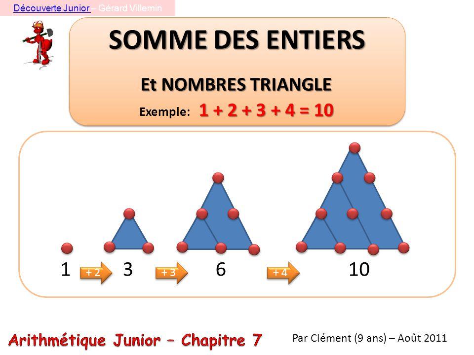 SOMME DES ENTIERS Et NOMBRES TRIANGLE 1 + 2 + 3 + 4 = 10 Exemple: 1 + 2 + 3 + 4 = 10 1 3 + 2 6 + 3 10 + 4 Par Clément (9 ans) – Août 2011 1 Découverte