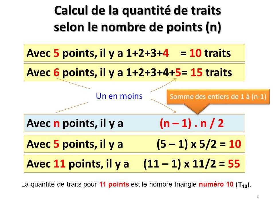 Calcul de la quantité de traits selon le nombre de points (n) Avec 5 points, il y a 1+2+3+4 = 10 traits Avec 6 points, il y a 1+2+3+4+5= 15 traits Ave