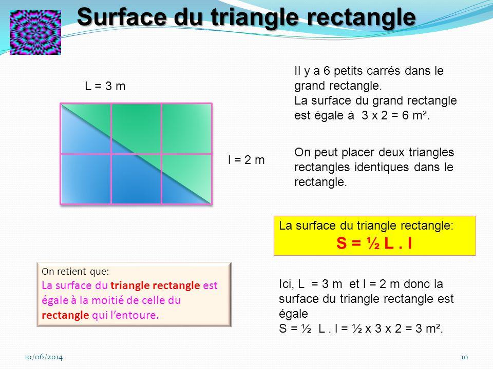10/06/20149 c = 3 m Il y a 9 petits carrés dans le grand carré. La surface du grand carré est égale à 9 mètres carrés (m²). La surface du carré: S = c