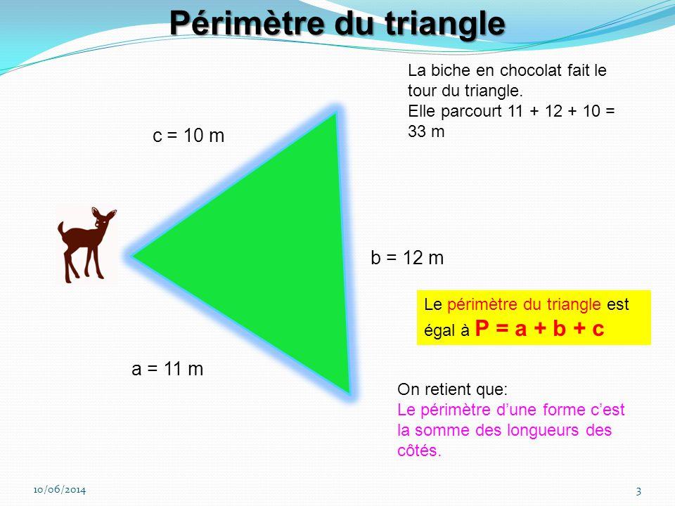10/06/20143 c = 10 m b = 12 m a = 11 m La biche en chocolat fait le tour du triangle.