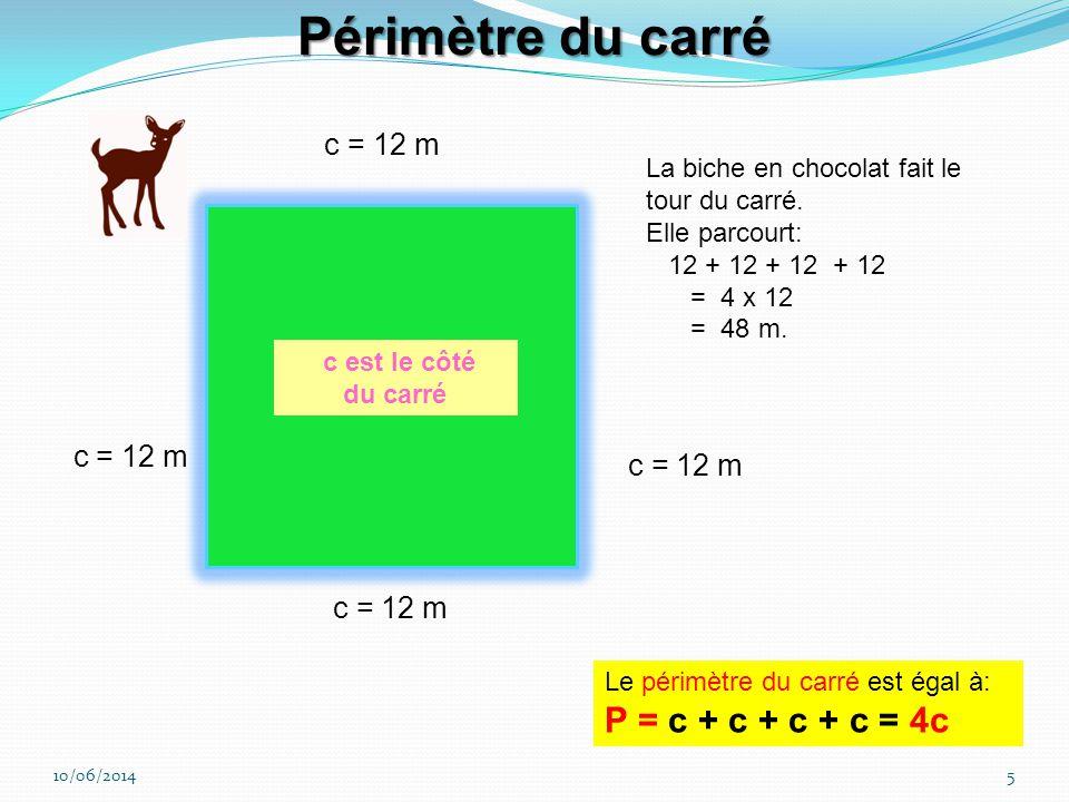 10/06/20144 L = 12 m La biche en chocolat fait le tour du rectangle. Elle parcourt 12 + 10 = 22m et encore 12 + 10 = 22 m. Pour faire le tour elle par