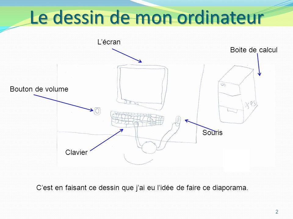 2 Le dessin de mon ordinateur Souris Lécran Clavier Bouton de volume Boite de calcul Cest en faisant ce dessin que jai eu lidée de faire ce diaporama.