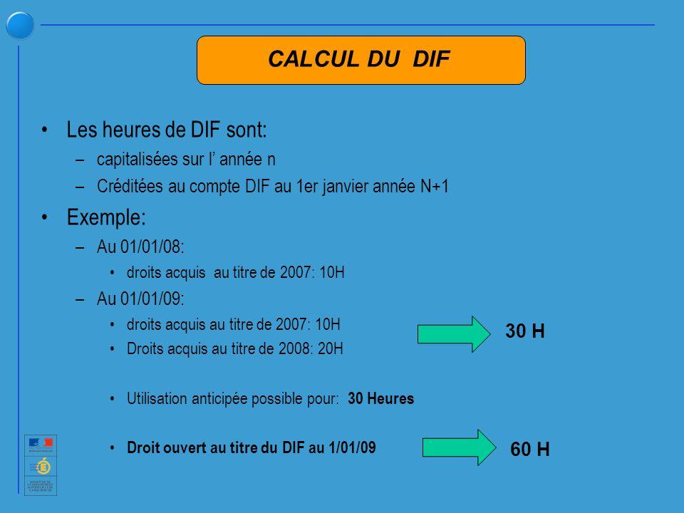 Les heures de DIF sont: –capitalisées sur l année n –Créditées au compte DIF au 1er janvier année N+1 Exemple: –Au 01/01/08: droits acquis au titre de 2007: 10H –Au 01/01/09: droits acquis au titre de 2007: 10H Droits acquis au titre de 2008: 20H Utilisation anticipée possible pour: 30 Heures Droit ouvert au titre du DIF au 1/01/09 30 H 60 H CALCUL DU DIF