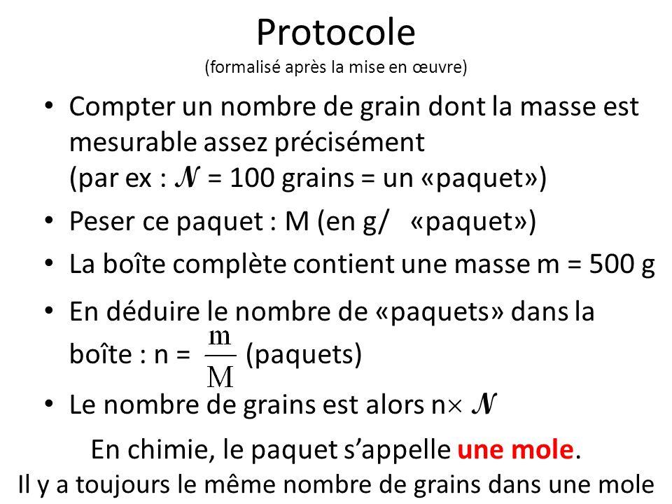 Protocole (formalisé après la mise en œuvre) Compter un nombre de grain dont la masse est mesurable assez précisément (par ex : N = 100 grains = un «p