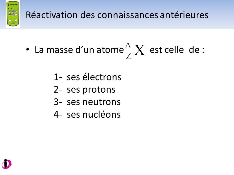 La masse dun atome est celle de : 1- ses électrons 2- ses protons 3- ses neutrons 4- ses nucléons Réactivation des connaissances antérieures