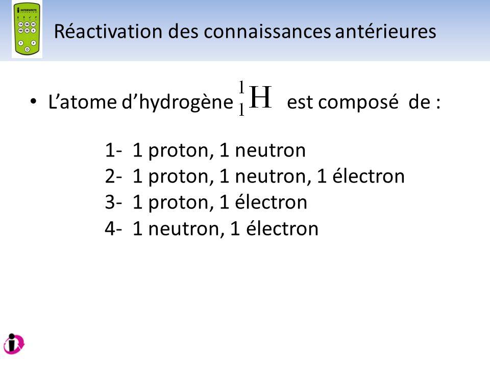 Latome dhydrogène est composé de : 1- 1 proton, 1 neutron 2- 1 proton, 1 neutron, 1 électron 3- 1 proton, 1 électron 4- 1 neutron, 1 électron Réactiva