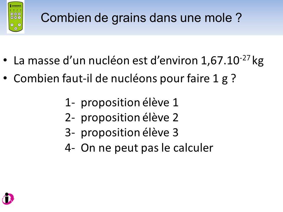 La masse dun nucléon est denviron 1,67.10 -27 kg Combien faut-il de nucléons pour faire 1 g ? 1- proposition élève 1 2- proposition élève 2 3- proposi