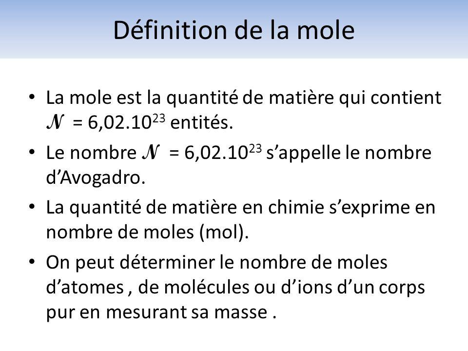 La mole est la quantité de matière qui contient N = 6,02.10 23 entités. Le nombre N = 6,02.10 23 sappelle le nombre dAvogadro. La quantité de matière
